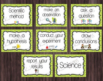 Scientific Method Posters - Set of 8 - science posters, classroom posters, educational poster, teacher supplies, green, classroom decor