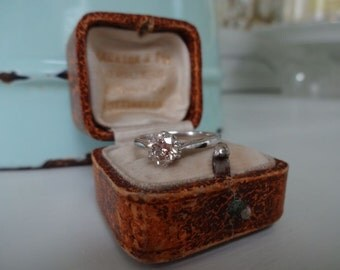 9K White Gold 0.62ct Carat Fancy Diamond Solitaire Engagement Ring NRV 1100 GBP