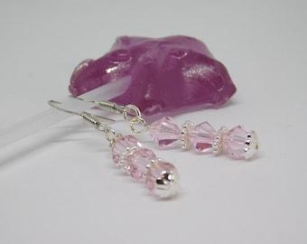 Pink Swarovski Crystal Earrings.