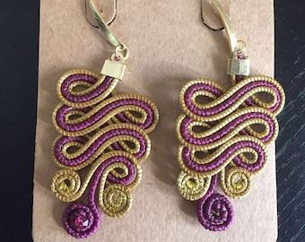 Purple Golden Grass Earrings