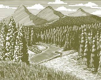 Woodcut Mountain Stream – Digital Download