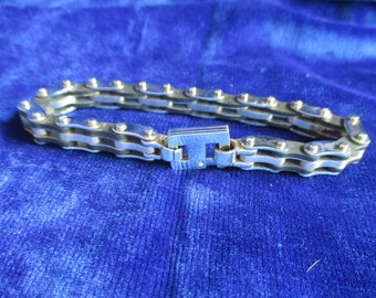 Stainless Steel and Black Rubber Bicycle Chain Bracelet – 21.5cm long