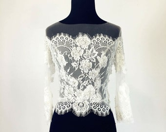 Handmade Lace Bolero #9-Beautiful Bridal Lace Top-Lace Bolero-Long Sleeve Bridal top
