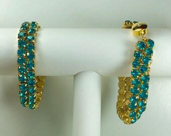 Blue Zircon Glitterati Bracelet - Swarovski Crystals, Magnetic Clasp, Gold Plate