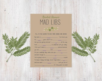 Bridal Shower Game - Irish Garden Mad Libs {Download + Print}