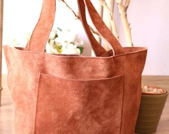 Basket natural color leather bag