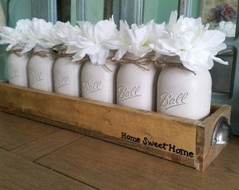 Mason jar centerpiece-mason jar decor-rustic decor-distressed-floral arrangement-spring decor-table decor-Farmhouse decor-Southern Decor