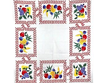 Vintage Tablecloth, Simtex Tablecloth, Fruit Print Tablecloth, Mid Century Modern Tablecloth, Vintage Fruit Tablecloth, Vintage Simtex