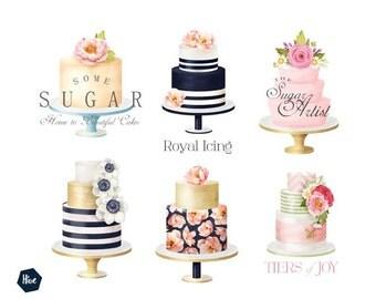 Stand alone logo - Premade logo - cake logo - Business branding - Floral cake logo - Cake illustration for business branding - Logo design