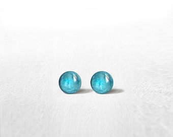 TURQUOISE Stud Earrings Mini Tiny Shimmery 4 mm - Stainless Steel Gold Plated Posts plus High Quality Epoxy Resin - Moon Line