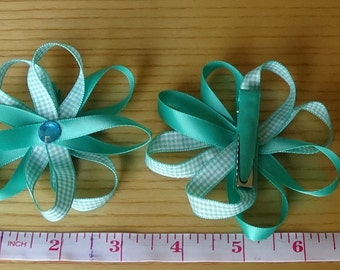 Teal Flower Bow