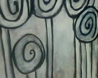 30 x 40 Concrete Swirl Trees Original Oil on Canvas