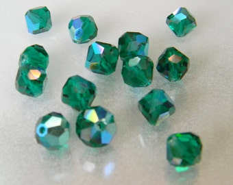 8mm Emerald AB Faceted Oval Bicone Swarovski Vintage 5309 - 18 beads