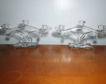 STUNNING PAIR OF Elegant Glass Candlelabras - 3 Candlesticks - Great Find!