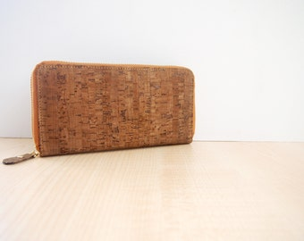 Dark Cork Long Wallet Women Clutch purse with Zipper Phone Wallet Bag