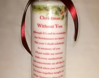 Christmas without you hand printed pillar candle
