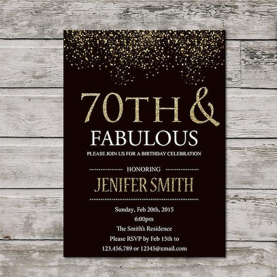 Printable Seventy Birthday Invitation Women PRINTABLE Seventy