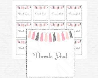 Pink and Silver Favor Tags, Baby Shower Thank You Tags, Printable Baby Shower Girl, Baby Shower Decor, Shower Favor Cards, Tassels, TASPS