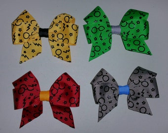 "3"" Harry Potter Inspired Hair Bow Set / Pair - Hogwarts, Gryffindor, Huffelpuff, Slytherin, Ravenclaw"