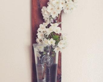 Reclaimed wood wall shelf, flower vase. Hand made.