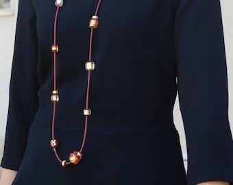 Long red necklace, Leather necklace, Beads necklace, Artisan lampwork necklace, Glass beads, Flamework, 24k gold foil, Murano Glass