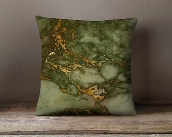 Green Gold Marble Pillowcase Decorative Throw Pillow Cover Cushion Case Designer Pillow Case Birthday Gift Idea For Him Her Home Decor