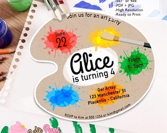 Art Party Birthday Party DIY artist Palette invitations painting party DIY printable palette invite