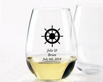 Captains Wheel - Stemless Wine Glasses 9oz (12pcs)