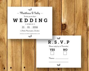 Printable Wedding Invitation Suite - Invite & RSVP Card - The Broderick