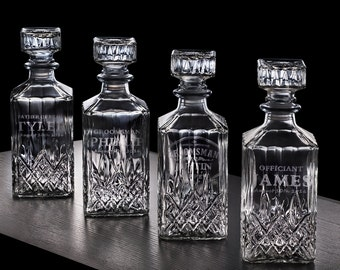 1 personalized whiskey decanter, groomsmen gift, officiant gift, personalized usher gift
