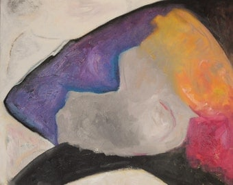 Abstract Whale Oil Painting in Black, Grey, White, Purple , Pink and Orange