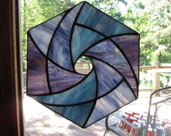 Turquoise, Teal, Blue, Purple, Stained Glass, Star, Suncatcher, Colored Glass, Aqua