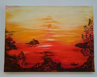 sunset oil painting from artist