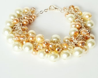 Glass Pearl and Crystal Charm Bracelet