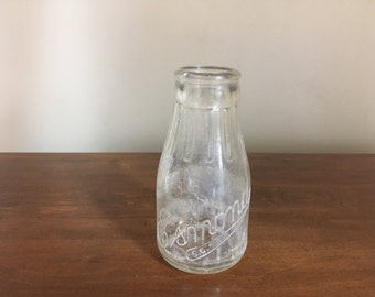 Vintage Esmond Glass Milk Bottle 1940s Half Pint S.C.S.K.