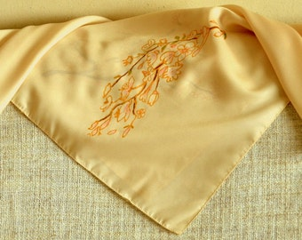 Hand painted silk scarf, unique woman accessory, silk gift for her, soft silk scarf, soft tender colors, Sakura