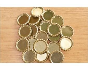 Flattened Gold Bottle Caps, Flat Golden Bottlecaps, DIY Bottle Cap Crafts, Jewelry Pendant