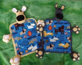 Crochet puppy dog fleece lovey blanket