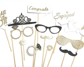 Photo Booth Props - Set of 13  Engagement Wedding Party Props