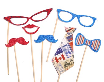 Photo Booth Props - Set of 7 American Ties & Glasses Photo Booth Props