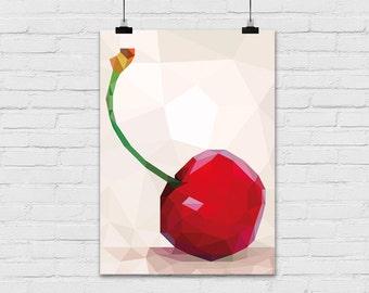 Art print / polygon / cherry