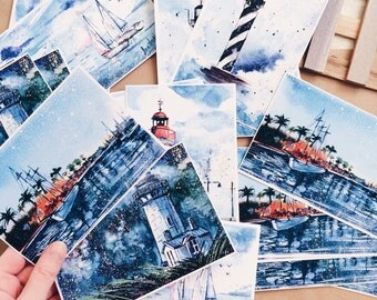 "Set of 5 postcards ""Lighthouse & Sea"", art watercolor postcards"