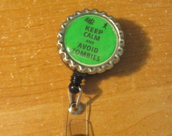 Keep Calm and Avoid Zombies - Retractable badge holder