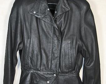 Women's Leather Jacket Size 10 - Black Lambskin Leather