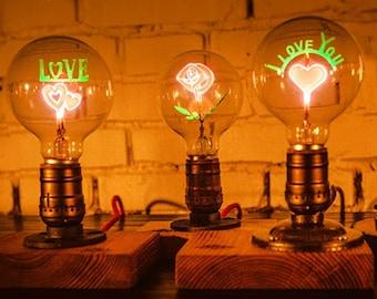 LED art flower, love, edison bulb,