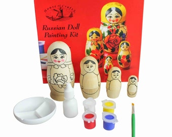 House of Crafts Russian Doll Painting Kit Paint Your Own Wooden Baboushka Matryoshka Nesting Dolls Set Kids Childrens