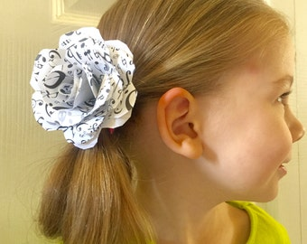 Paper rose hair clip accessory,  paper flower hair bow, music sheet paper flower hair accessory