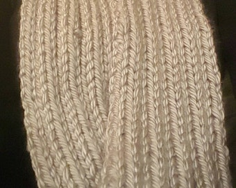 Grey Hand knit ribbed scarf. Can be worn as a neck warmer/infinity scarf.