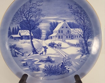 Currier & Ives collectible plate; winter scene; The Homestead in Winter