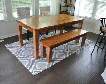 Custom Farmhouse Dining Table or Kitchen Table - Wood